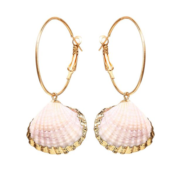 Creative retro circle inlaid alloy scallop earrings NHPJ127975