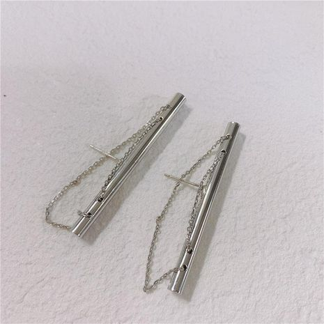 Creative design steel pipe with chain earrings NHYQ127989's discount tags