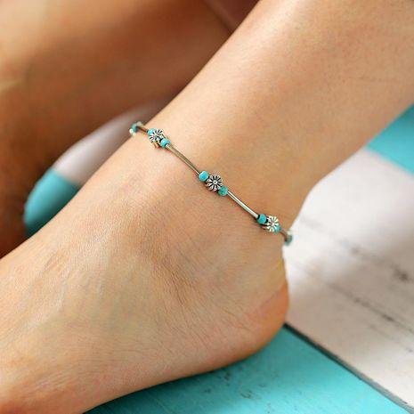 Creative Vintage Bohemian Turquoise Flower Anklet Bracelet NHPJ128004's discount tags