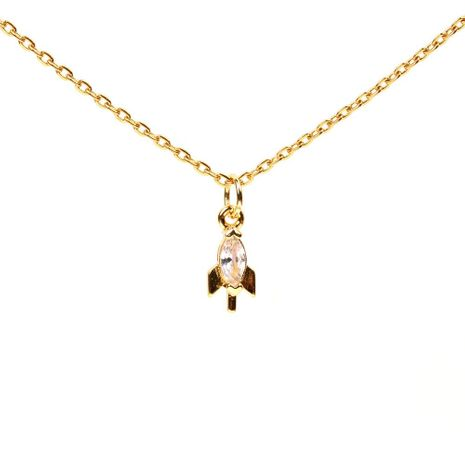 Copper plated alloy micro-inlaid zircon small rocket pendant NHPY128026's discount tags