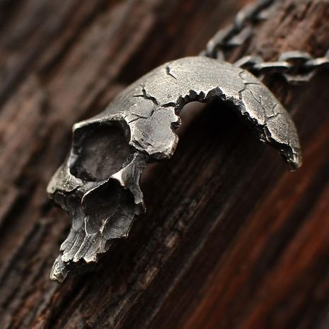 Gothic half skull necklace NHLL128070's discount tags