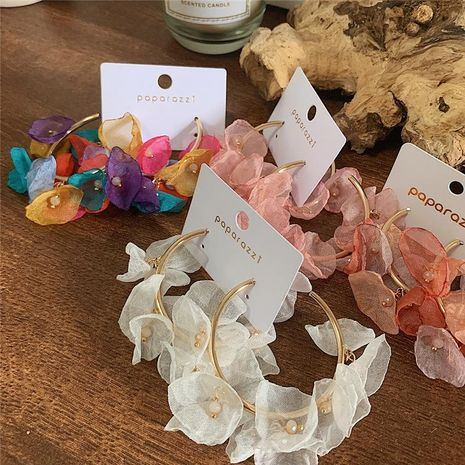 Beautiful color tulle petals large circle earrings NHYQ128112's discount tags