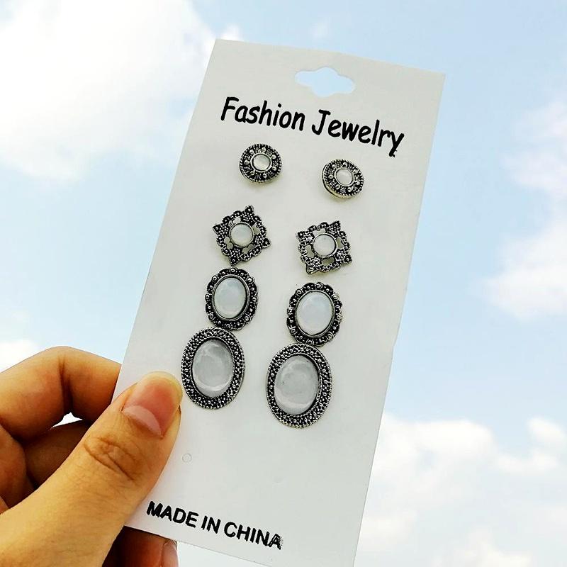 Creative retro simple alloy inset Opel earrings set 4 pairs NHPJ128209