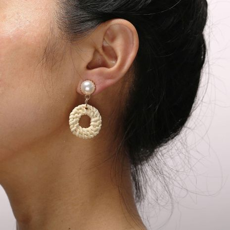 Vintage woven beige round wooden earrings inlaid beadss NHPJ128211's discount tags