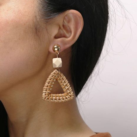 Creative vintage triangle woven wooden earrings NHPJ128219's discount tags