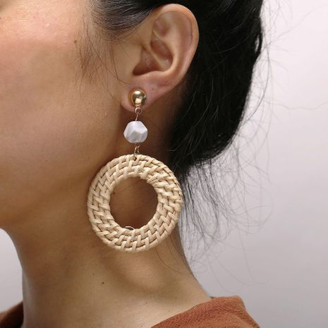 Vintage woven round wooden earrings beige NHPJ128248's discount tags