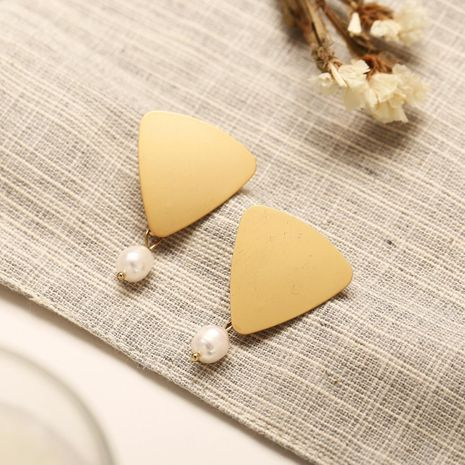 Creative retro simple triangular metal sequins freshwater beads earrings NHPJ128251's discount tags