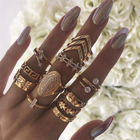 Creative Vintage English Letters Virgin Rhinestone Ring Set 13 Piece Set NHPJ128265's discount tags