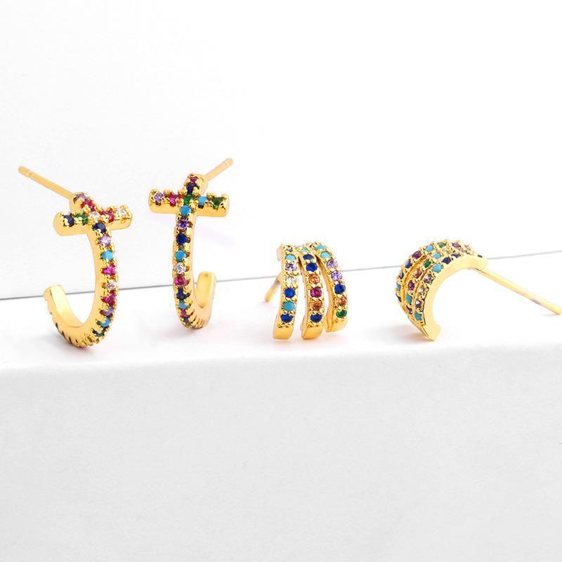 C type simple fashion colorful zircon earrings NHAS128266
