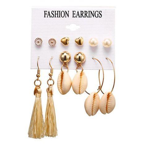 Ensemble de boucles d'oreilles pendantes en coquille d'amour de fleurs vintage créatives NHPJ128270's discount tags