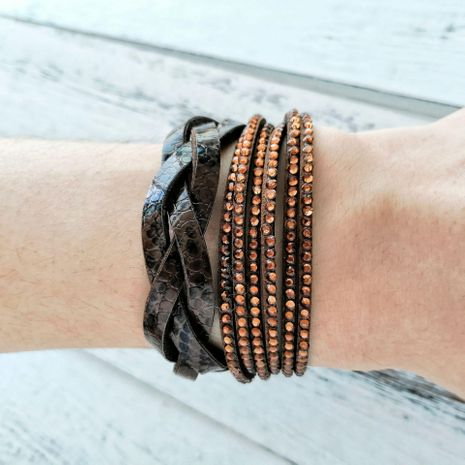 Hot drilling multi-layer winding flannel woven leather bracelet NHPJ128271's discount tags