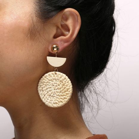 Beige woven round wooden earrings NHPJ128273's discount tags