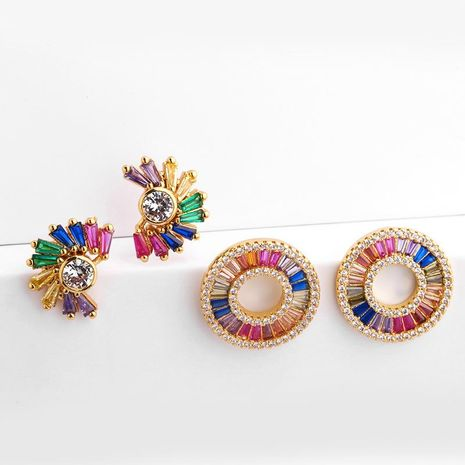 Colored zircon imitated crystal earrings NHAS128276's discount tags