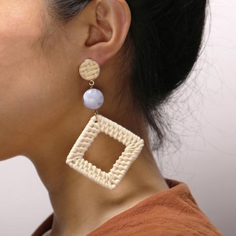 Creative vintage woven wooden rhinestone earrings NHPJ128279's discount tags