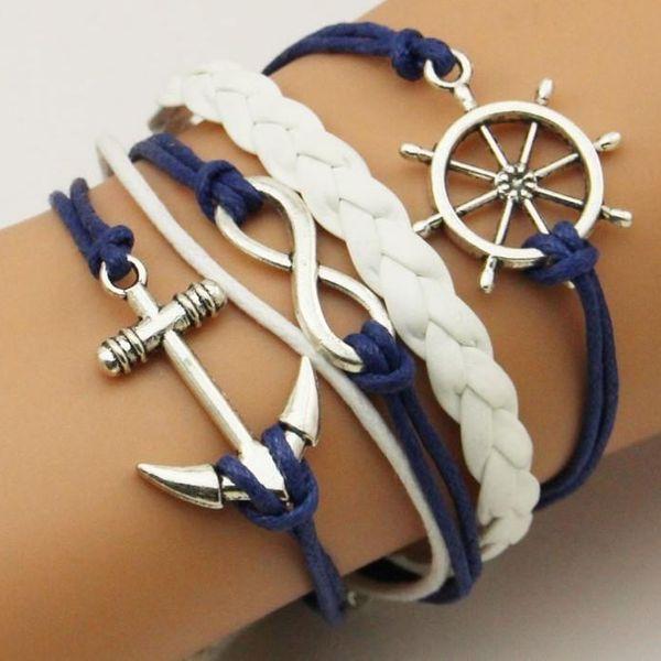 Fashion ancient alloy anchor rudder infinity multi-layer bracelet NHPJ128297