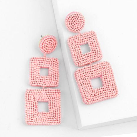 Creative woven double-sided rice beads square earrings NHAS128323's discount tags