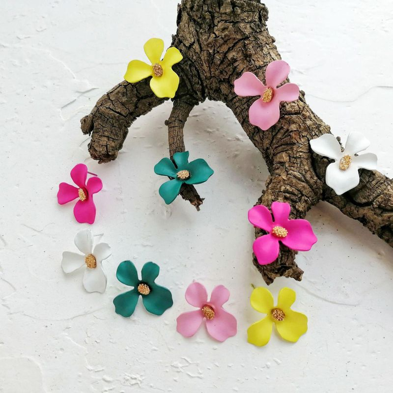 Creative simple candy color flower fashion earrings NHPJ128325