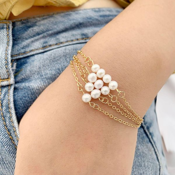 Creative retro simple beads single bead bracelet NHPJ128342