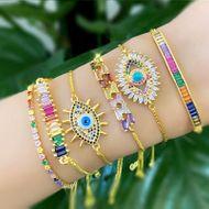 Fashion micro-inlaid zircon pull color imitated crystal bracelet NHAS128362