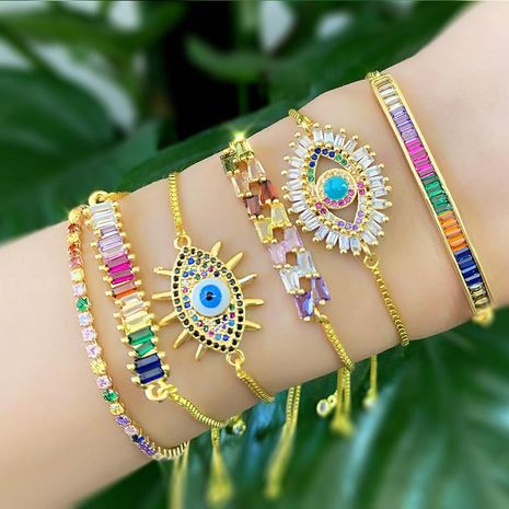 Fashion micro-inlaid zircon pull color imitated crystal bracelet NHAS128362's discount tags