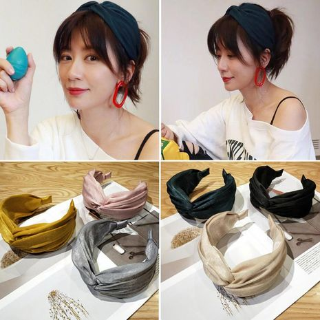 Korean version of fabric cross wide headband NHOF128375's discount tags
