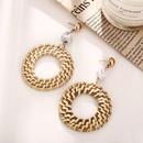 Vintage woven round wooden earrings beige NHPJ128248