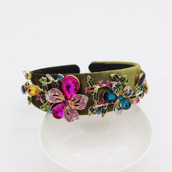 Fashion color rhinestone big trumpet flower geometric color headband NHWJ128398