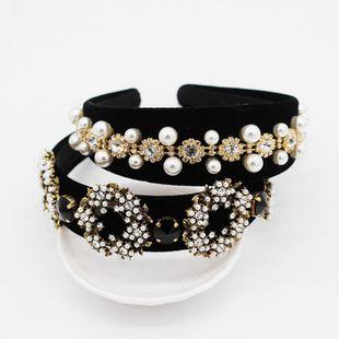 Vintage full rhinestone beads circle geometric headband NHWJ128405's discount tags