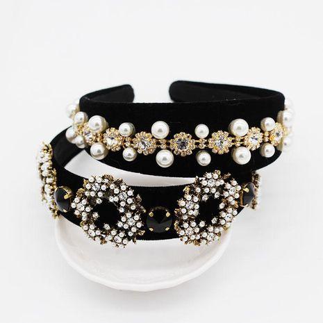 Diadema geométrica de círculo de perlas llenas de diamantes vintage NHWJ128405's discount tags