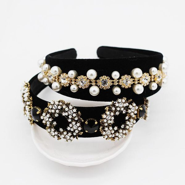 Vintage full rhinestone beads circle geometric headband NHWJ128405