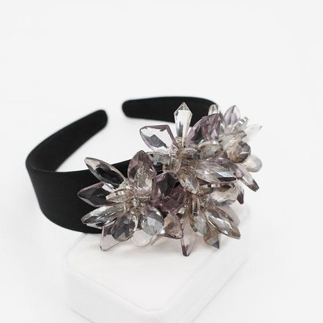 Fashion personality transparent imitated crystal large flower wild headband NHWJ128412's discount tags