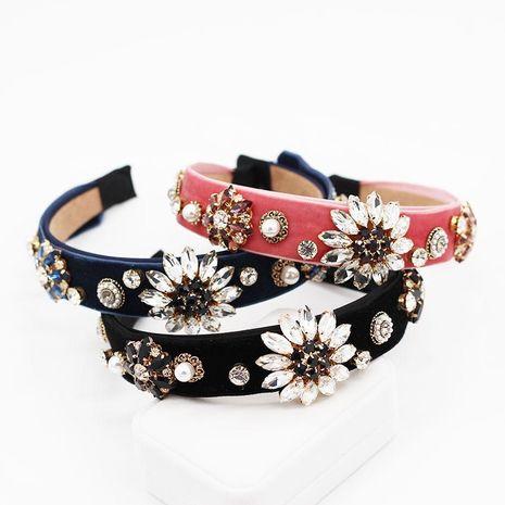Simple sun flower drill geometric casual headband velvet handmade headband NHWJ128418's discount tags