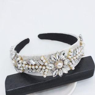Fashion full rhinestone beads white leaves geometric simple headband NHWJ128423's discount tags