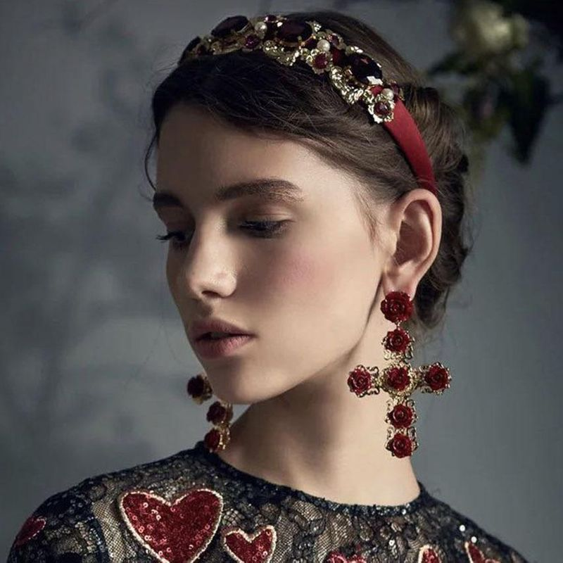 Wild luxury court ball personality headband earrings NHWJ128424