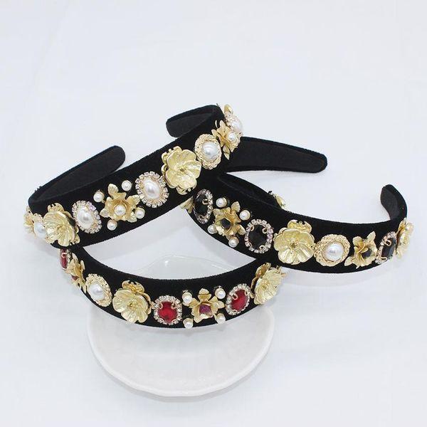 Full rhinestone metal flower beads big gem headband NHWJ128427