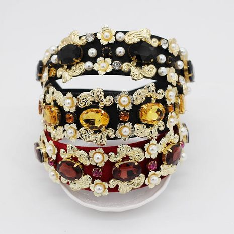 Fashion satin rhinestone large gem headband NHWJ128439's discount tags
