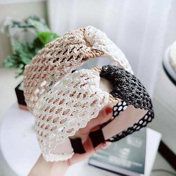 Korean version of the retro simple hand-woven straw headband NHOU128772