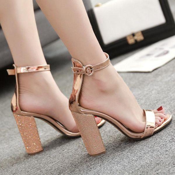Champagne rhinestone chunky with a high heel sandal NHSO128865