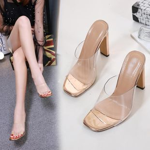 Transparent sexy high heeled with chunky sandals NHSO128887's discount tags