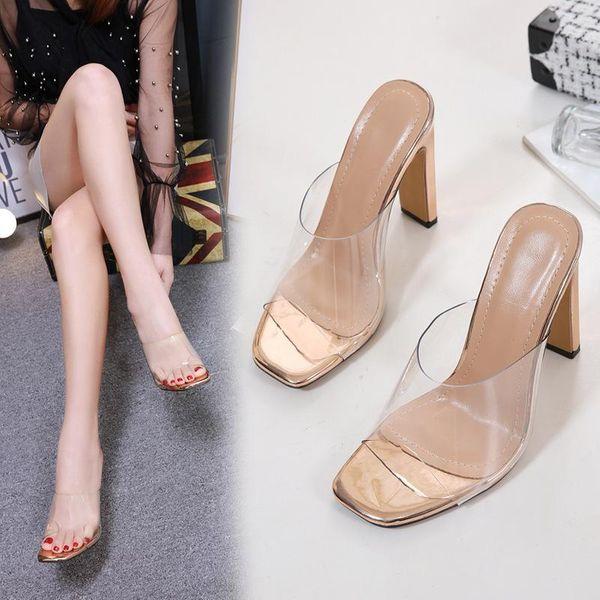 Transparente sexy tacón alto con sandalias gruesas NHSO128887