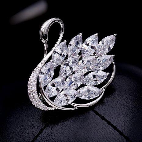 Womens Fashion micro-inlaid zircon swan brooch NHDO128928's discount tags