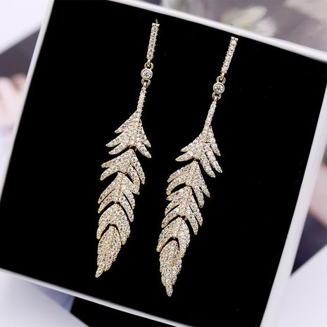 Fashion micro-inlaid zircon feather earrings NHDO128944's discount tags