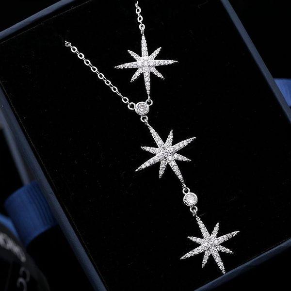 Fashion micro-inlaid zircon three eight-pointed star necklace NHDO128945
