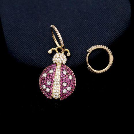 Fashion micro-inlaid zircon asymmetrical seven-spot ladybug earrings NHDO128947's discount tags