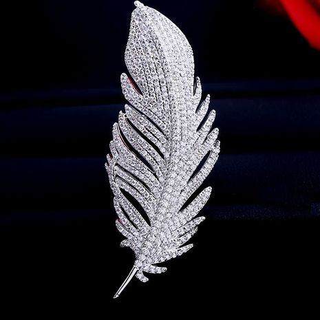 Womens Fashion micro-inlaid zircon feather brooch NHDO128955's discount tags