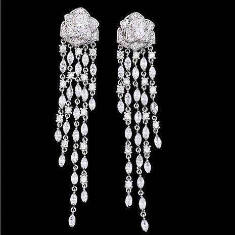 Fashion micro-inlaid zircon rose camellia earrings NHDO128964's discount tags