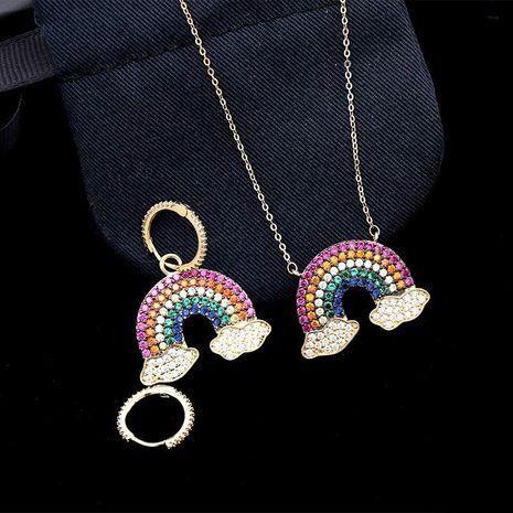 Fashion micro-inlaid zircon rainbow necklace NHDO128970's discount tags