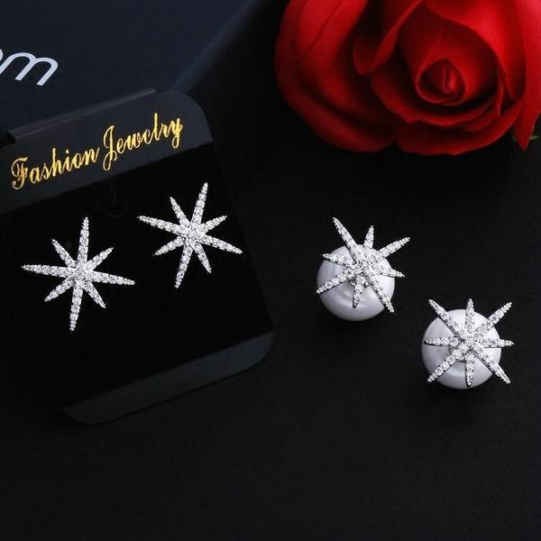 Fashion micro-inlaid zircon star beads earrings NHDO128972