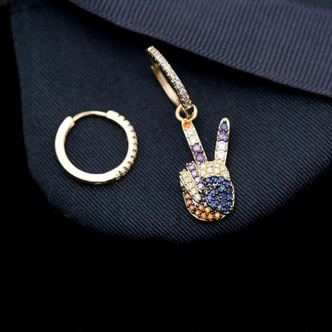 Fashion micro-inlaid zircon asymmetric V-shaped earrings alloy NHDO128976's discount tags
