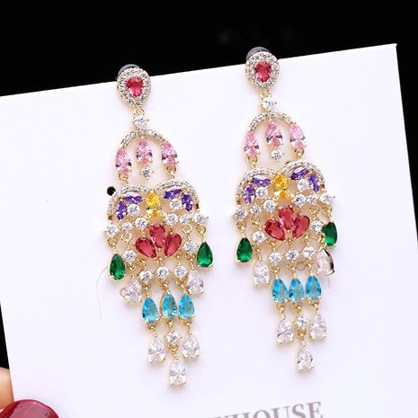 Womens Fashion micro-inlaid zircon tassel long earrings NHDO128977's discount tags
